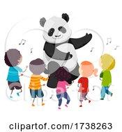 Poster, Art Print Of Stickman Kids Panda Mascot Dance Illustration