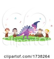 Stickman Kids Parasaurolophus Dancing Illustration