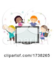 Poster, Art Print Of Stickman Kids Perform Karaoke Monitor Illustration