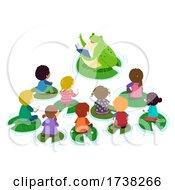 Poster, Art Print Of Stickman Kids Pond Class Frog Teacher Illustration