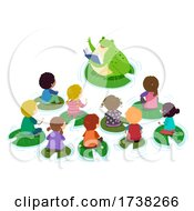 Stickman Kids Pond Class Frog Teacher Illustration