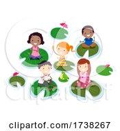 Poster, Art Print Of Stickman Kids Pond Sit Lily Pads Frog Illustration