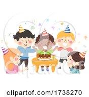 Kids Desk Birthday Party Cake Illustration