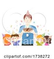 Kids Teacher Guy Birthday Party Cake Illustration