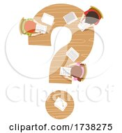 Kids Writing Question Mark Table Illustration