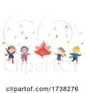 Stickman Kids Autumn Season Leaf Illustration