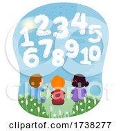 Poster, Art Print Of Stickman Kids Cloud Shapes Numbers Illustration