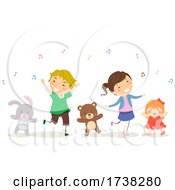 Stickman Kids Dance Stuffed Toys Illustration