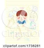 Kid Boy In Paper Scribble Pencil Illustration