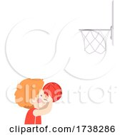Kid Boy Shoot Ball Basket Ball Hoop Illustration