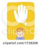 Kid Boy Think Helping Hand Cloud Illustration