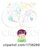 Kid Boy Think Scribble Doodles Illustration