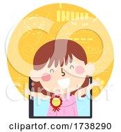 Kid Girl App Developer Award Ribbon Illustration