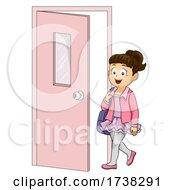 Kid Girl Ballet Class Door Illustration