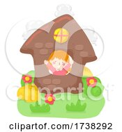 Kid Girl Clay House Wave Flowers Illustration