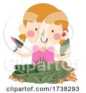Kid Girl Deaf Leaf Art Workshop Illustration