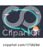 Kid Girl Draw Chalkboard Speech Bubble Frame