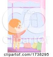 Kid Girl Draw Gift Window Fog Illustration