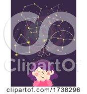 Kid Girl Imagine Constellation Shapes Illustration