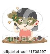 Kid Girl Leaf Mask Making Scissors Heat Gun
