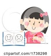 Kid Girl Mood Tracker Book Pencil Illustration