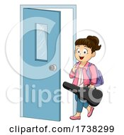 Kid Girl Music Guitar Lessons Door Illustration