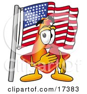 Clipart Picture Of A Traffic Cone Mascot Cartoon Character Pledging Allegiance To An American Flag by Toons4Biz