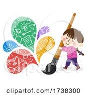 Kid Girl Paint Brush Creative Colors Illustration