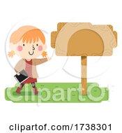 Kid Girl Bible Sign Board Direction Illustration