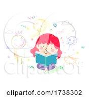 Kid Girl Read Book Imagine Scribble Doodles