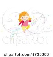 Poster, Art Print Of Kid Girl Scribble Unicorn Fantasy Illustration