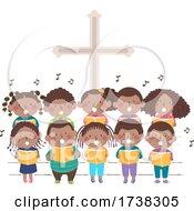 Kids Black Church Stage Sing Choir Illustration