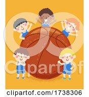 Kids Boys Basketball Team Big Ball Illustration