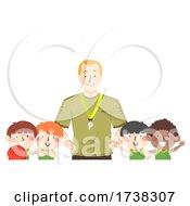 Kids Boys Basketball Team Coach Illustration