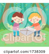 Kids Beating Sheet Outdoors Insects Illustration