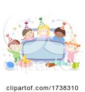 Kids Bedroom Party Bed Board Confetti Illustration