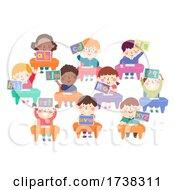 Kids Classroom Desk Tablet Alphabet Illustration