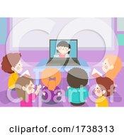 Poster, Art Print Of Kids Classroom Watch Classmate Laptop Illustration