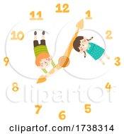 Kids Clock Hands Arrows Illustration