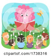 Kids Flower Mascot Read Book Garden Illustration
