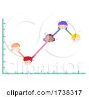 Kids Head Points Line Graph Illustration