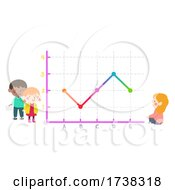 Kids Looking Studying Line Graph Illustration