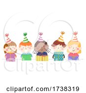 Kids Hold Gifts Party Hats Border Illustration