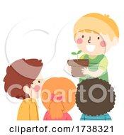 Poster, Art Print Of Kids Kid Boy Share Potted Plant Illustration