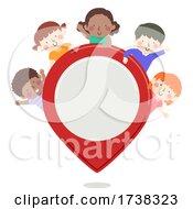 Poster, Art Print Of Kids Location Tracker Pin Illustration