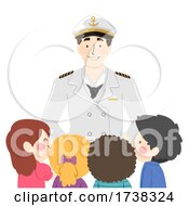 Kids Man Cruise Captain Greet Illustration