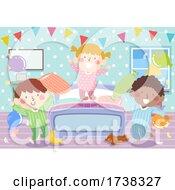 Kids Pajama Bedroom Party Bunting Illustration