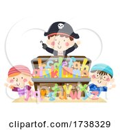 Kids Pirate Treasure Chest Alphabet Illustration