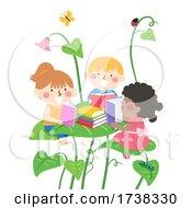 Kids Reading Book Big Leaves Fantasy Illustration