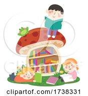 Kids Read Mushroom Bookshelf Outdoors Illustration
